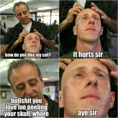 Boot camp haircuts, I think this barber has been there since the early MCRD San Diego. Once A Marine, My Marine, Military Quotes, Military Humor, Marine Corps Memes, Marine Corps Tattoos, Usmc Humor, Marines Boot Camp, Drill Instructor