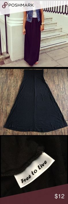 "Free to Live Black Maxi Skirt Size medium Free to Live black maxi skirt. Soft and stretchy. Will fit a ladies size 6-8 😊 The beauty of a black maxi is how you can pair it with literally anything- simple or dressy, heels or flats, anything! 39"" long, but the band can be folded if need be. Free to Live Skirts Maxi"