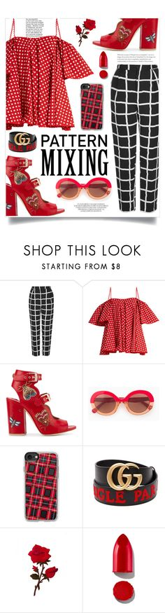 """""""patterns"""" by jenningsseton ❤ liked on Polyvore featuring Topshop, Anna October, Laurence Dacade, Max&Co., Casetify, Gucci and Rodin"""