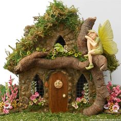 A magical artisan moon fairy house for your mini fairy gardens.