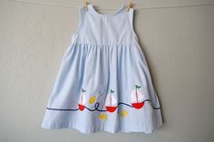 Vintage Toddler Dress - Sailor Dress - Blue Gingham - Size 5T by NellsNiche on Etsy