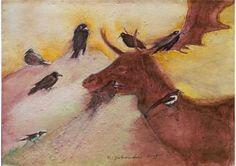 "Saatchi Art Artist Remigiusz Dobrowolski; Painting, ""Elk and 8 birds."" #art"
