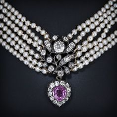 greville jewels | Victorian Natural Pearl, Diamond and Pink Sapphire Necklace - 90-1-753 ...
