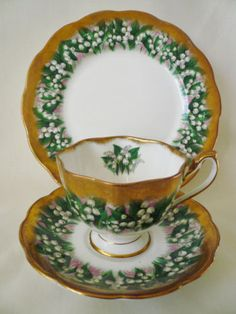 Queen Anne HEAVY GOLD TRIO set ~ LILY OF VALLEY ~ Teacup Cup Saucer Plate