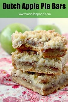 All the flavors of your favorite apple pie and the delicious Dutch-style crumb topping make these bar cookies exceptionally yummy! Easy to make as well - Dutch Apple Pie Bars! Apple Pie Recipes, Baking Recipes, Cookie Recipes, Dessert Recipes, Dutch Apple Crumb Pie Recipe, Baking Ideas, Dutch Apple Pie Topping, Dutch Apple Cake, Dutch Recipes