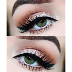 31 Pretty Eye Makeup Looks for Green Eyes ❤ liked on Polyvore featuring beauty products and eye makeup