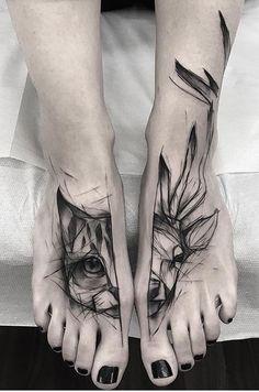 Kamil Mokot cat and deer tattoo