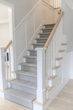 We recently installed this stair runner into a home in Wellesley. This wool herringbone works perfectly with the home interiors. The perfect mix of grey's and blues. Staircase Runner, House Staircase, Staircase Remodel, Staircase Makeover, Staircase Design, Staircases, Stair Paneling, Grey Hallway, Australia House