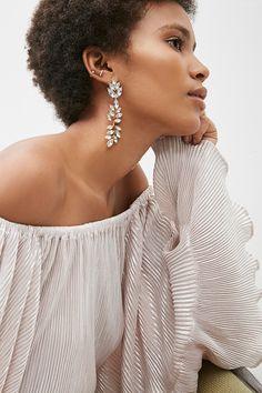 Rhinestone Leaf Drop Earrings
