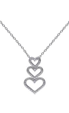 Diamond Triple-Heart Pendant Necklace cute push present !!