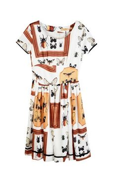 Insect Printing Round Neckline Dress