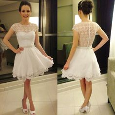 Homecoming Dress. Custom Cap Sleeves Ivory Prom Dress,