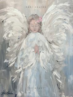 My Angel Original Canvas Print by Debi Coules - Debi Coules Romantic Art Christmas Paintings, Christmas Art, Canvas Wall Art, Canvas Prints, Art Prints, Canvas Paper, Angel Artwork, Angel Paintings, Angel Pictures