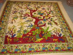 """Large tree of life colorful tapestry WALL HANGING bedspread cover 84""""x100"""""""
