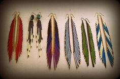 feather looking bead earrings