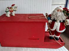 Vintage Christmas Red Sleigh Hand Crafted Wooden Ice Fishing Sled & Metal Runners Christmas Window Display Holiday Toys Box Log Holder Tote