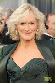 Glenn Close--Oscars 2012 Red Carpet The 64-year-old actress wore a green Zac Posen gown, Judith Leiber bag, and a pair of Bulgari earrings!   http://stillblondeafteralltheseyears.com/category/outfits-modeled-women-over-45/