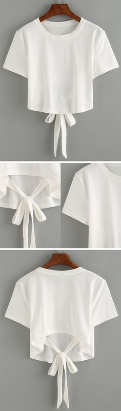 White Tie Back Crop T-shirt - printed shirts, shirts for men, blue and white shirt mens *sponsored https://www.pinterest.com/shirts_shirt/ https://www.pinterest.com/explore/shirt/ https://www.pinterest.com/shirts_shirt/custom-shirts/ http://www.twinkledeals.com/shirts-cc142/