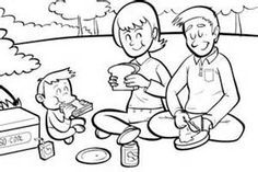 picnic friends coloring page