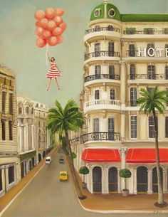 Janet Hill - red stripe dress with balloons Janet Hill, Cello, Illustrations, Illustration Art, Large Prints, Fine Art Prints, Sp City, Naive, Title Card