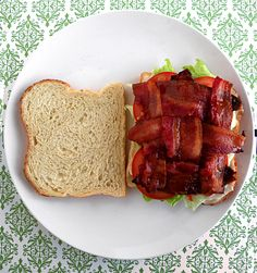 I actually tried this today at lunch...and I will do it this way from now on!    Makes your bacon stay put on a BLT and appear in every bite. Genius! Set oven to 350 degrees. 3 Strips of Bacon cut in half to make 6 half strips and weave together. bake for 23-28 minutes, or until desired done-ness. (I know some people still prefer their bacon chewy. I however, like it crispy!)