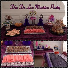 Dia de Los Muertos party. Day of the dead party. Dessert table. Treat table. Table set up. Center pieces. Decorations.