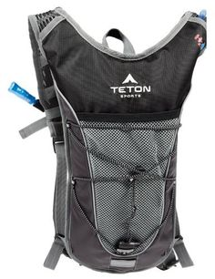 "TETON Sports Trailrunner 2.0 Hydration Backpack w/ Bladder (16.5""x 10.5""x .7"", Black) by Teton Sports. $24.13. Minimalist pack comes with 70-ounce/2 liter bladder, deep pocket for snacks and wallet, exterior bungee with barrel lock. Low-profile athletic cut rides above jersey pockets, below bike helmets. Adjustable waist/shoulder fits men and women. Wide mesh straps and chest shock absorber reduce bounce. Cushioned, ventilated back panel. FDA-compliant food grade blad..."
