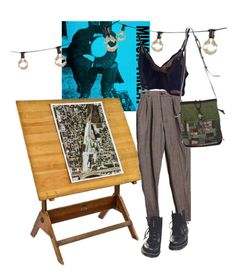 """i miss art school"" by kampow ❤ liked on Polyvore featuring Dr. Martens, NOVICA, Bulbrite, dining room and kitchen"