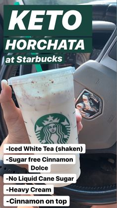 Keto Starbucks Horchata - Starbucks drinks - A-Z Finance Plan (For Life) Starbucks Hacks, Café Starbucks, Low Carb Starbucks Drinks, Starbucks Secret Menu Drinks, How To Order Starbucks, Low Carb Drinks, Frappuccino, Yummy Drinks, Healthy Drinks