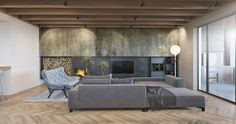 - Grunge wall panels - Couch - Open fire and wood storage - Outdoor patio