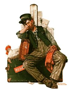 """""""Asleep on the Job"""", August 29,1925 Giclee Print by Norman Rockwell at Art.com"""