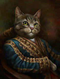 The Hermitage Court Outrunner Cat Print by Eldar Zakirov. Fancy Cats, Cute Cats, Crazy Cat Lady, Crazy Cats, Gatos Cats, Cat Dresses, Cat People, Cat Art, Pet Portraits
