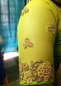 No automatic alt text available. Cutwork Blouse Designs, Pattu Saree Blouse Designs, Simple Blouse Designs, Bridal Blouse Designs, Zardosi Work Blouse, Maggam Work Designs, Designer Blouse Patterns, Sleeve Designs, Embroidery Blouses