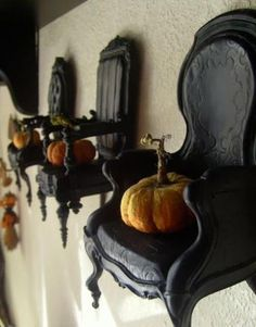 halloween decorations and party table setting in vintage style