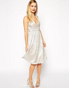 ASOS   ASOS V Neck Foil Midi Dress at ASOS