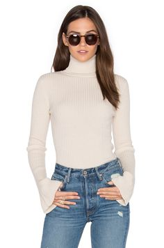 Autumn Cashmere x REVOLVE Ribbed Turtleneck Bell Sleeve Sweater in Cream | REVOLVE