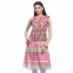 A trendy sleeveless kurta in red for women by Jugnu crafted from soft and comfortable cotton fabric. Features all over floral and geometric print in complementary colors, pleat details to the front and back, a pretty bow on the left shoulder and a boat neck.