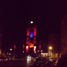 My favourite building in Edinburgh - all lit up. St Stephens Church