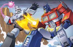 Classic Optimus vs Megatron fight atop the Sherman Dam! Character line art by Dan Khanna Colors by me! Transformers (C) Takara Tomy/Hasbro