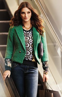 Make a statement and go green! The #CAbi Fall 2013 Ivy Jacket will reign supreme in your wardrobe! Pair back to the Dressed Up Sweatshirt and Ink Ruby Jean!