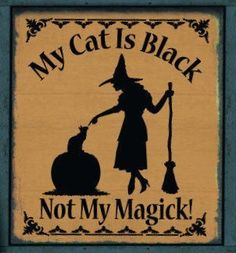 Primitive Witch Sign My Cat is Black not my magick Cats Witches Halloween Decorations Country witchcraft magic Folk Art Painting wicca by SleepyHollowPrims, $24.30 USD