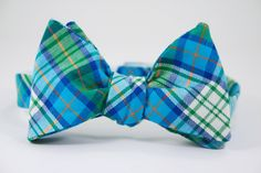 Bright Blue Plaid Bow Tie. Maybe hot pink instead of the orange.