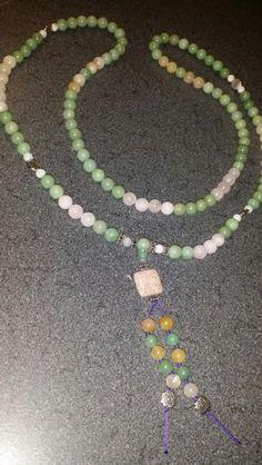 Boepbo malas. Commissioned by Lupe. Lt green aventurine, rose & golden quartz, rainbow moonstone. 10 mm stones.