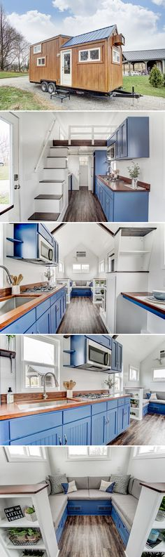 Built by Modern Tiny Living and based on their Kokosing model, the Lodge offers a beautiful interior with blue cabinets and highlights, a hickory countertop, and wood accents.