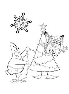 spongebob christmas gets really wrapped up in the decorating coloring page christmas coloring pages kidsdrawing free coloring pages on