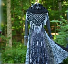 Long gray grey Stevie Nicks style sweater Coat Up by amberstudios