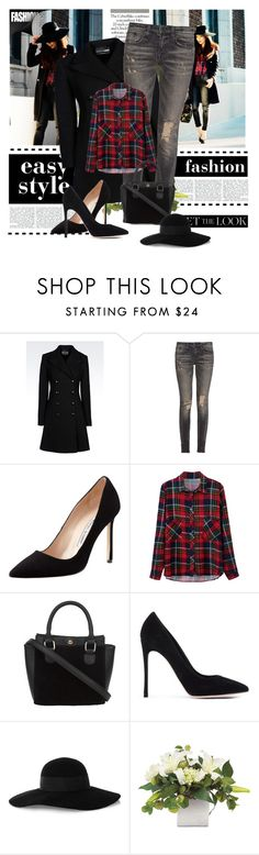 """""""Untitled#14"""" by mila-05 ❤ liked on Polyvore featuring Maison Michel, Emporio Armani, R13, Manolo Blahnik, Gianvito Rossi, Eugenia Kim and coolcoat"""
