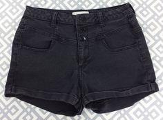 Forever 21 Denim High Rise Waist Shorts Pin Up Rockabilly Black Distressed  29 #FOREVER21 #Denim