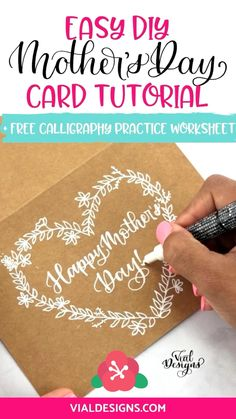 Learn how to make a beautiful and super easy Mother's Day DIY Card using your lettering! Also access to a FREE Mother's Day Calligraphy Practice worksheet. #vialdesigns #learncalligraphy #mothersdaydiycard #diycardidea Hand Lettering For Beginners, Calligraphy For Beginners, Calligraphy Tutorial, Hand Lettering Tutorial, Learn Calligraphy, Calligraphy Worksheet, Pencil Calligraphy, Birthday Cards For Mother, Mothers Day Cards