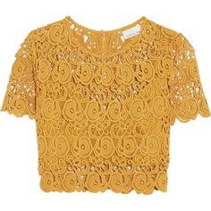 Miguelina Lula cropped cotton-guipure lace top ($135) ❤ liked on Polyvore featuring tops, mustard, bra top, cut-out crop tops, keyhole crop top, lace top and boxy crop top